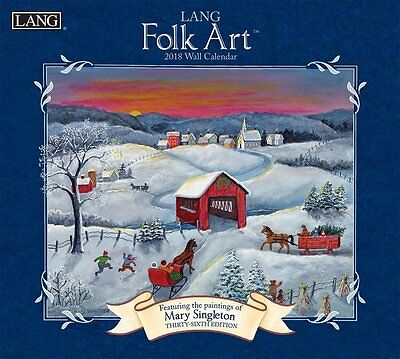 Folk Art - 2018 Deluxe Wall Calendar - Brand New - Lang Art Singleton 1922