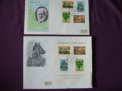 "Guernsey - 1975 "" 2-Fd Covers. Victor Hugo Exile In Guernsey Set 4 & Mini-Sheet"""