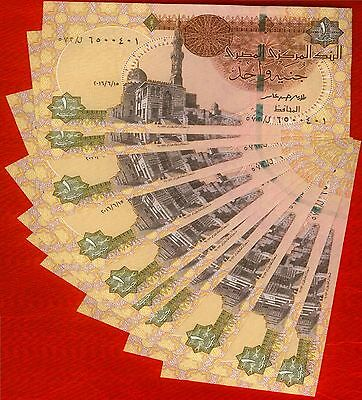 New Issue Egypt 1 Egyptian Pound 2016 Pick NEW SIGN T.AAMER UNC SERIAL Lot 10X
