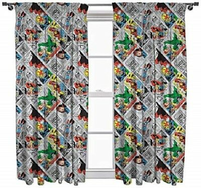 """Marvel Comics 'Justice' Ready Made 66"""" x 54"""" CURTAINS"""