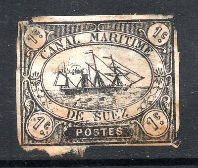 Suez Canal: 1867 Cutter 1c. (type D) SG 1 used - faults
