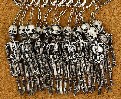One (1) Skeleton Keychain Keyring Made In Greece Vintage New Old Stock