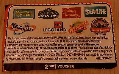 2 for 1 Voucher to Warwick Castle, Madame Tussauds, Sealife, Legoland & more