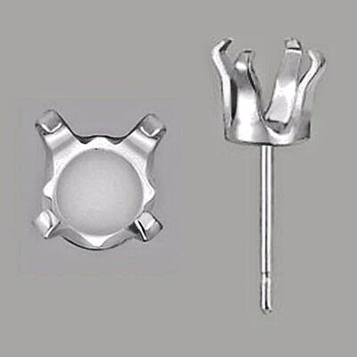 Solid 925 Sterling Silver 4 Prong Round SnapTite Earrings Settings Findings USA