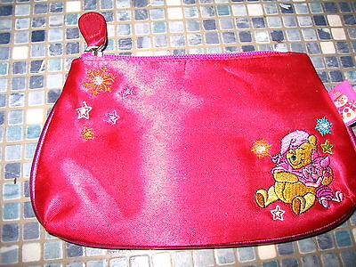 Disney Store Winnie The Pooh & Piglet Red Satin Cosmetic Bag Brand New Rare