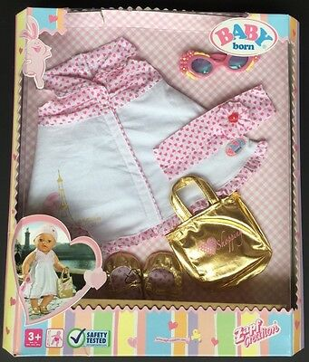 Zapf Baby Born Doll's City Tour Outfit Dress Shoes Sunglasses New