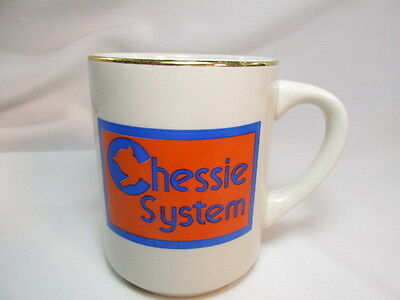 Vintage Chessie System Coffee Mug Tea Cup Gold Trim Railroad Train Advertising