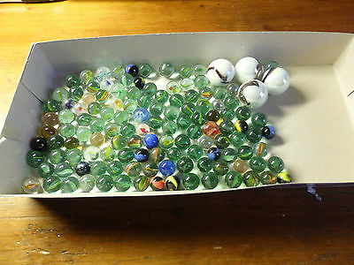 Vintage Marbles. Approx 125 small marbles and 4 Tom Bowlers