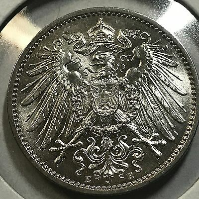 1915-E Germany Silver One Mark Brilliant  Uncirculated Beauty
