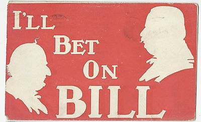 Diff Style 1908 Taft & Bryan Red Silhouette Series Postcard I'll Bet on Bill