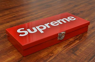 Brand New Supreme S/S 2017 Large Storage Metal Box Logo Container Lock Tool Red