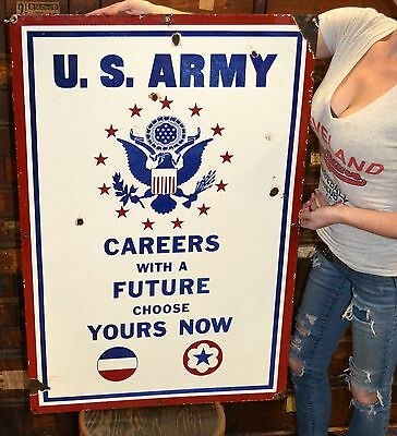 Large Double Sided Porcelain U.S. Army Air Force Recruiting Rare Sign