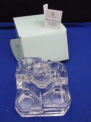 Partylite Crystal Castle 5 Tea Lite Candle Holder Party Lite Clear Glass in Box