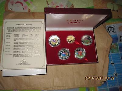 1993 GUINEA Dinosaurs $ color Proof GOLD + SILVER 5 Pcs COINS Set With COA & BO