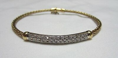Roberto Coin 18K Diamond Bar Woven Wheat Bracelet Yellow Gold Estate