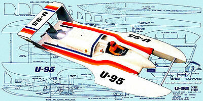 """Build a 45"""" Radio Control 1/8 Scale hydroplane Full Size Printed plan & article"""