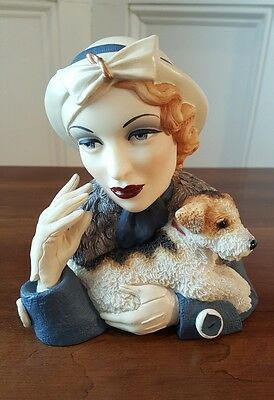 Vintage Woman Figurine With Jack Russell Terrier By Udc Pen Holder?