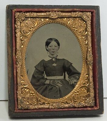 9th Plate Ambrotype Cute Girl Tinted Cheeks Ruby Glass Half Case Leather Covered