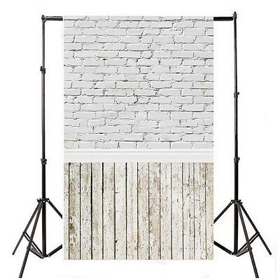 5x10FT White Brick Wall Backdrop Photography Photo Wooden Floor Background Prop