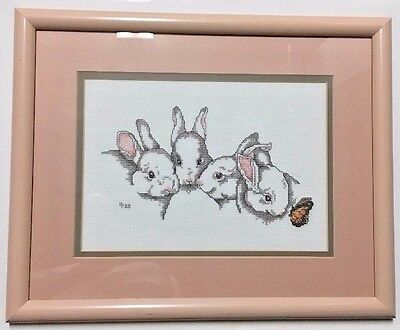 Needlepoint Stitched Bunnies Embroidered Framed Rabbit Neutral Pink Baby Nursery