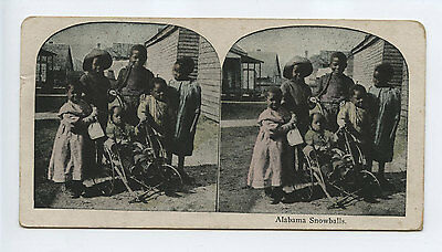 antique stereoview photo card black children racist history Alabama snowball OLD
