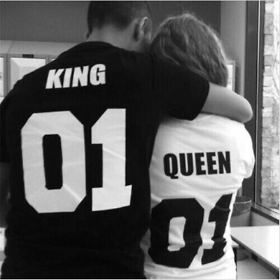 Couple T-Shirt -King 01 and Queen 01 - Love Matching Shirts - Couple Tee Tops US