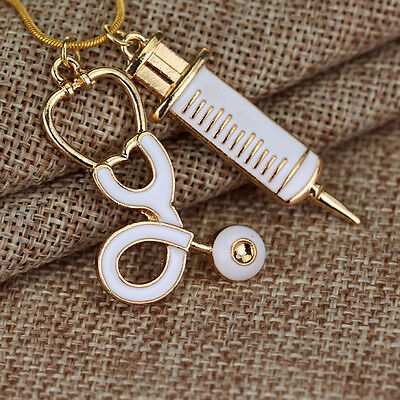 Alloy Medical Stethoscope Charm Syringe Pendant Necklace Chain Women Jewelry New