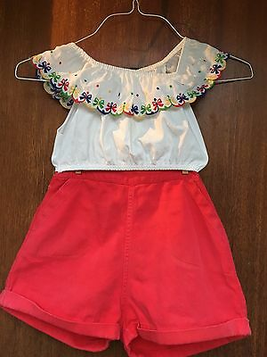 Vintage 1960s Girls Summer Cotton Shorts and Top Set