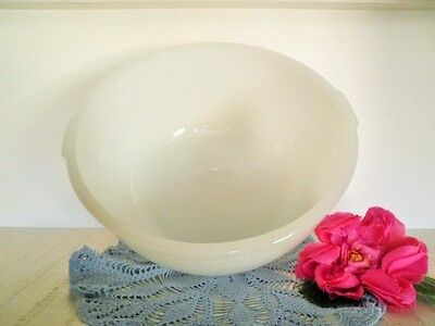 Vintage Mixing Bowl Large White Milk Glass Tab Handles Fits Most Mix Masters *