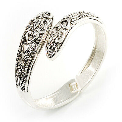 Vintage Inspired Snake Hinged Bangle Bracelet (Antique Silver Tone)