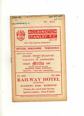 1958-59 ACCRINGTON STANLEY v CHESTERFIELD 29th September 1958 Division 3