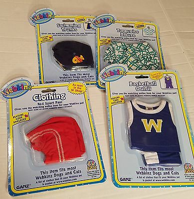 Lot of 4 Assorted Webkinz Pet Clothing For Dogs and Cats, GANZ New in Package