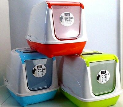 Hooded Cat Litter Tray Loo Enclosed Flip Top Toilet Box or Replacement Filters