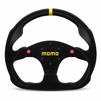 Momo Model 30 Race Racing Car Steering Wheel In Black Suede With Buttons