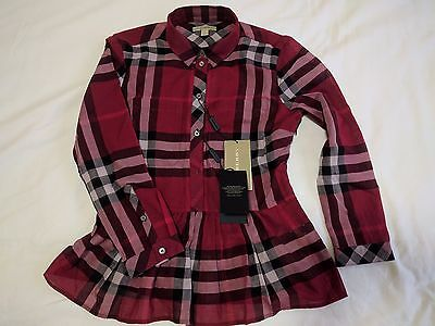 NWT Authentic Burberry long sleeve check top with ruffled waist red burgundy
