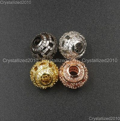 Zircon Gemstone Pave Hollow Carved Round Spacer Bracelet Connector Charm Beads