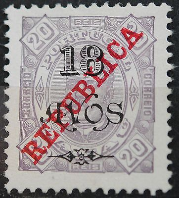 Macau Stamps SC#247 King Carlos Surcharged 18a on 20r Lavender SCV $21