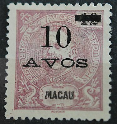 Macau Stamps SC#141 MINT King Carlos Surcharged 10a on 12a Red Lil SCV $30