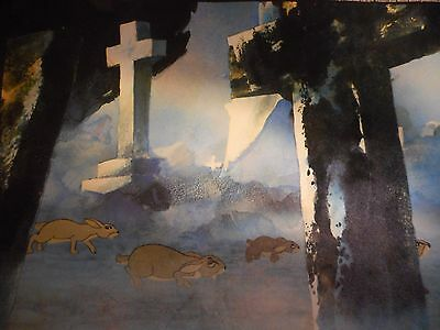 Watership Down Print Poster  Frightened In The Graveyard