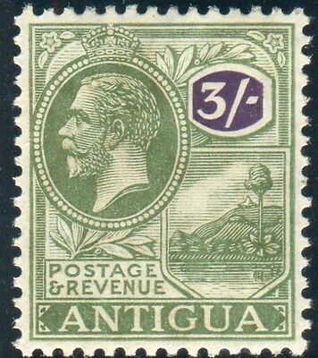 ANTIGUA-1922 3/- Green & Violet.  A lightly mounted mint example Sg 79