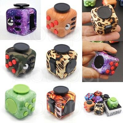 6 Sided Fidget Cube Stress Anxiety Relief Desk Focus Toy EDC For Adult Kids Camo