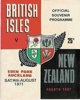 BRITISH LIONS v NEW ZEALAND 4th Test 14 Aug 1971 RUGBY PROGRAMME, AUCKLAND
