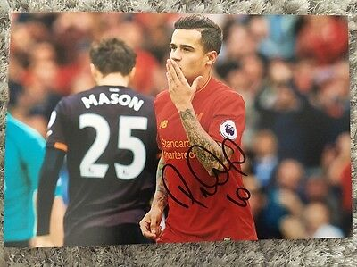 Philippe Coutinho LIVERPOOL FC HAND SIGNED 12X8 PHOTO AUTOGRAPH