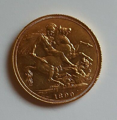 1890 Gold One Sovereign - Queen Victoria