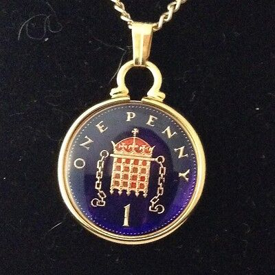 1996 Enamelled 1p Coin Pendant. Blue/gold/red. 21st Birthday/Anniversary