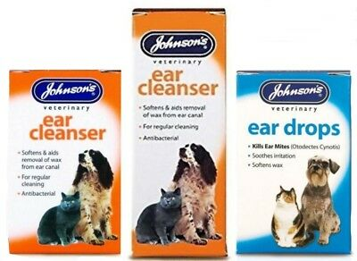 Johnson's Ear Drops or Cleanser for Dogs/Cats Kills Ear Mites Drops Wax Softner
