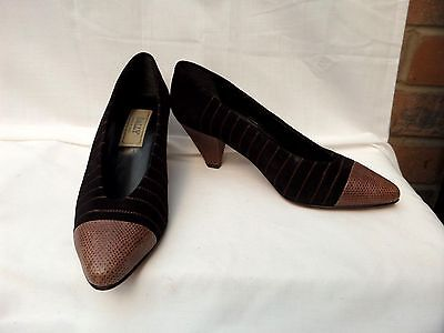 """Vintage 80's BALLY UK 5 / 38 Brown all leather & Suede court shoes 2"""" heels VGC"""