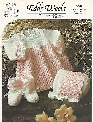 ORIGINAL VINTAGE KNITTING PATTERN BABY DRESS BONNET & BOOTEES chest 14-20 inch