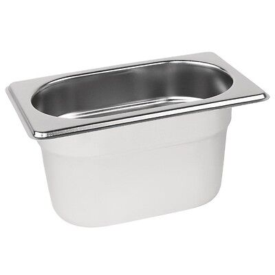 Vogue K825 Stainless Steel Gastronorm 1/9 Pan 100Mm 800Ml
