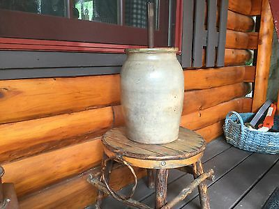 2 GALLON  STONEWARE BUTTER CHURN lid & dasher cream/grey color NICE condition